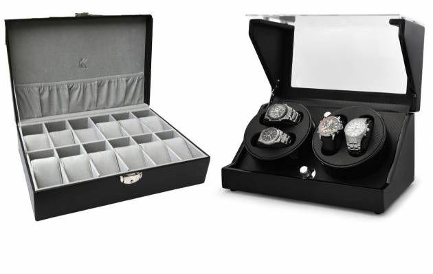 Pour qu'elles conservent plus longtemps leur état d'origine, les montres doivent être correctement rangées lorsqu'elles ne sont pas portées au poignet. Pour cela, plusieurs solutions s'offrent à vous. Vous pouvez les stocker dans un coffret (à gauche), ou bien dans un remontoir, qui maintiendra vos montres automatiques en marche.