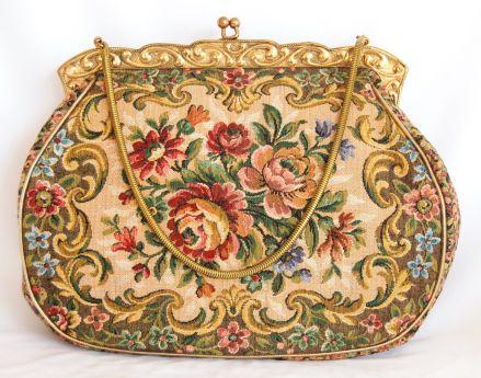 Pristine Vintage LaMarguise Ornate FrenchTapestry Handbag