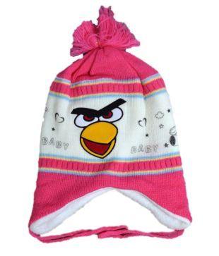 Mantra Pink Woollen Cap For Kids