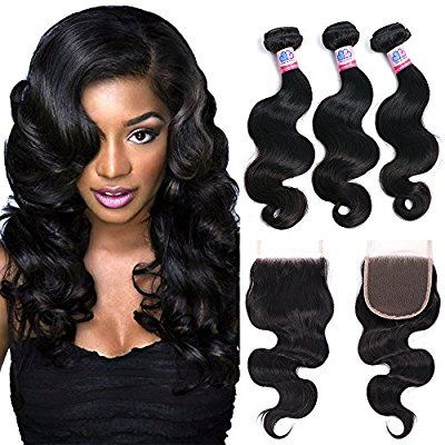 """Mike & Mary Top 7A Brazilian Wavy Hair 3 Bundles 12"""" 14"""" 16"""" with 12"""" Lace Closure 4x4"""" Natural Color Brazilian Virgin Human Hair Weave"""
