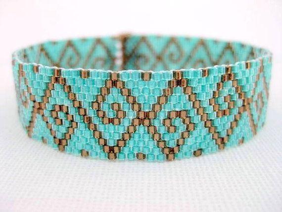 Peyote Pattern - Swirls - INSTANT DOWNLOAD PDF - Peyote Stitch Bracelet Pattern via Etsy