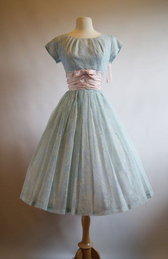 Vintage 1950s Party Dress  50s Pale Blue Full by xtabayvintage