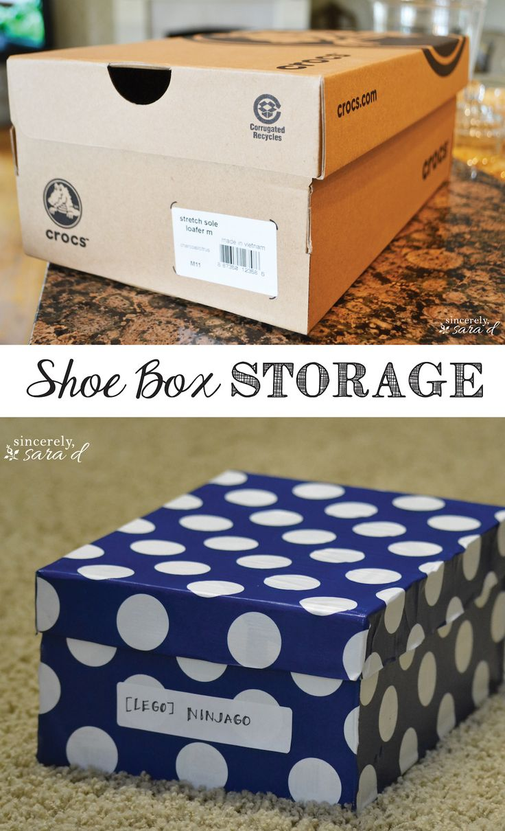 Cute storage made out of shoe boxes!