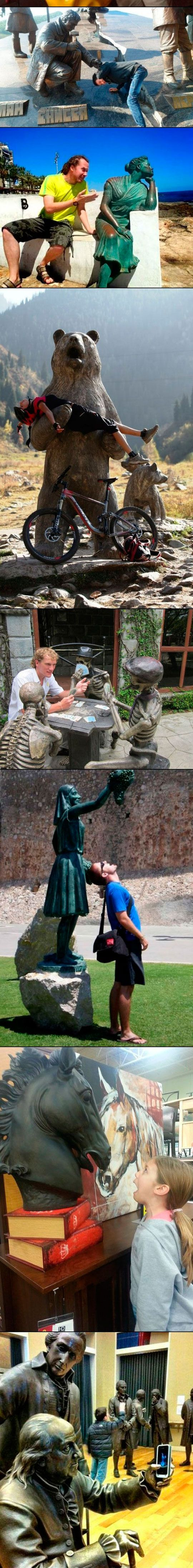 some statues...