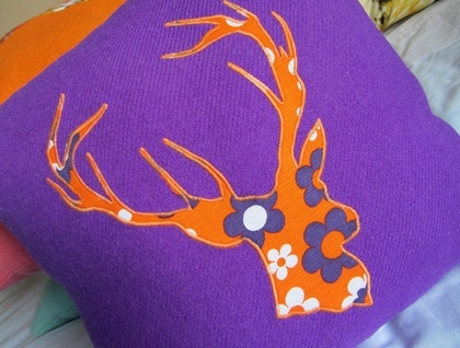 recycled wool blanket stag cushion - purple