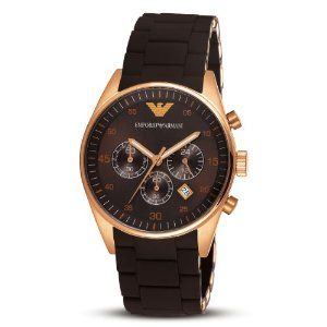Emporio Armani Men's AR5890 Brown Sport Chronograph Watch 43 mm stainless steel case Durable mineral crystal protects watch from scratches Chronograph watch