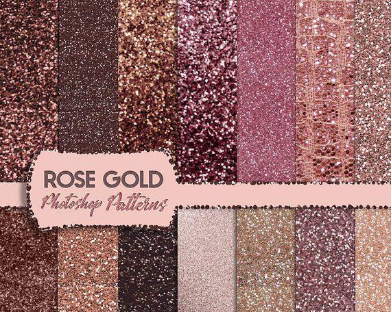 Rosegold Design Kit Rose Gold Digital Paper Rose Gold Textures Glitter Gold Foil Metallic Go Glitter Accent Wall Gold Digital Paper Rose Gold Texture