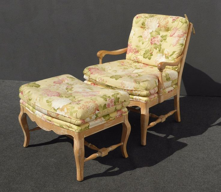 Vintage French Country Style Floral Design Carved Wood Accent CHAIR & OTTOMAN #FrenchProvincialFrenchCountry #Unknown