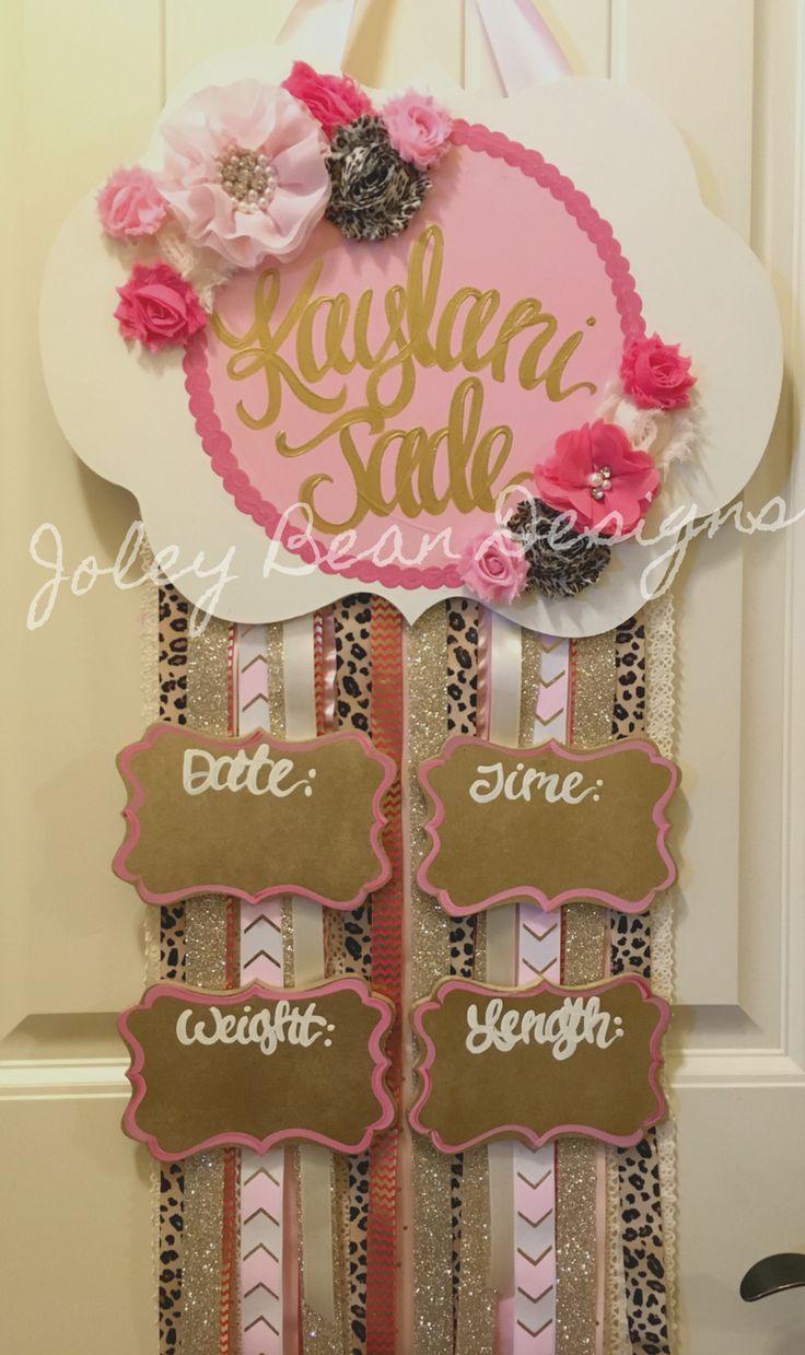 Baby girl door hanger, leopard print, Joley bean designs, pink, floral, nursery