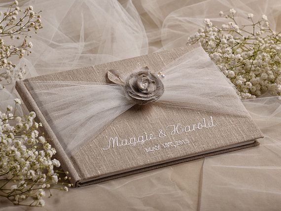 Wedding Guest Book Guestbook Tulle Shabby Chic by DecorisWedding, $50.00