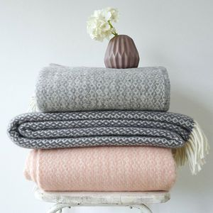 Lambswool Pattern Blanket With Fringes | Bring summer evenings in with this luxurious trend. Think dark, elegant colours alongside warm lighting and reflective surfaces. Achieve this look by combining dark velvets with high-gloss furniture and multiple light sources such as fairy lights, lanterns and floor lamps.