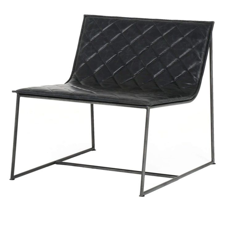 Dessau Industrial Iron Quilted Black Leather Chair #LeatherChair