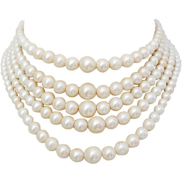 Preowned 1960S Christian Dior Pearl Five Strand Choker Necklace featuring polyvore, fashion, jewelry, necklaces, accessories, pearls, multiple, christian dior, pearl choker, pearl choker necklace, pearl jewellery and pearl necklace