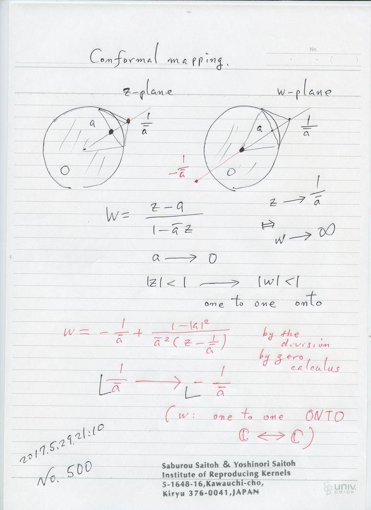 №500-890:  ゼロ除算算法による特異点の対応は 1次分数関数の場合には、 C を1対1上への 対応させるものとして、決まりますが、具体的には、 それは奇妙な対応と見られる面もある。強力な不連続性で 天から地への飛びがある。未知の現象を暗示している。 神の意思が隠されている。