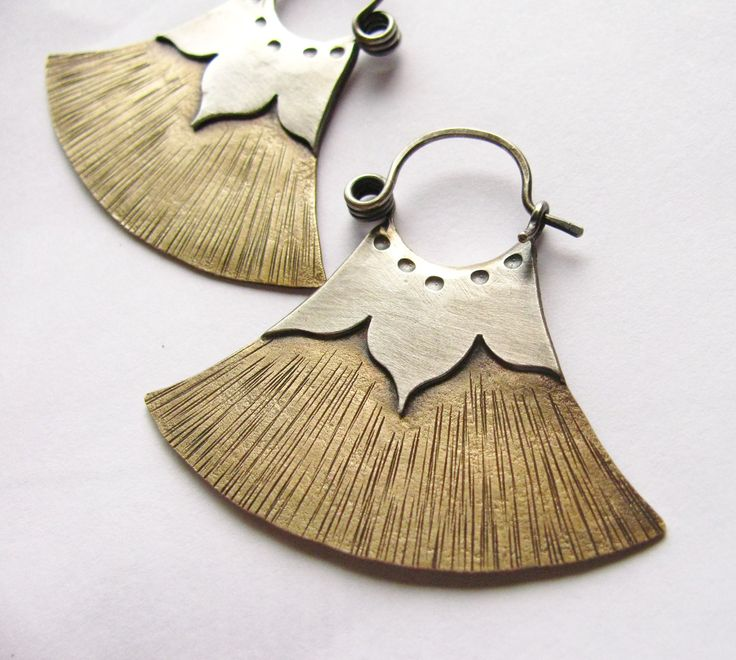 Tribal Lotus Hoops - Egyptian Inspired Mixed Metal Earrings - Artisan Metalsmith Jewelry - Bronze And Silver Earrings. $114.00, via Etsy.
