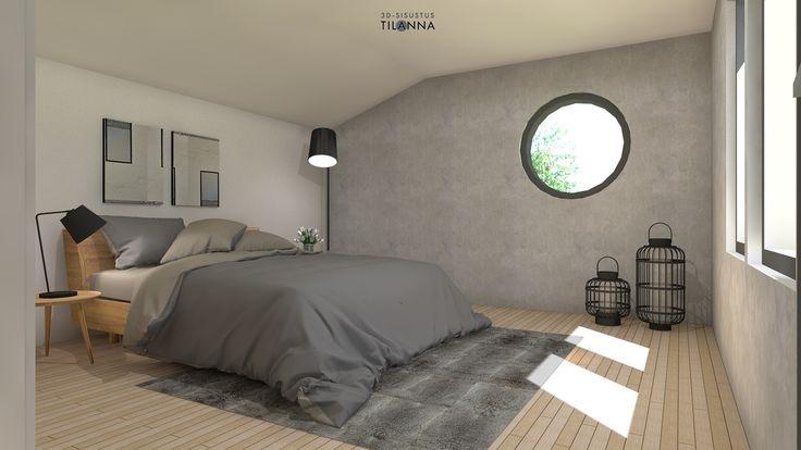 Makuuhuoneen 3D-sisustussuunnitelma, Teritalojen malli Moderna 220/ harmaa betonimainen seinä, valkovahattu viistetty tammiparketti, pyöreä ikkuna, mustat karmit/ 3D-sisustus Tilanna
