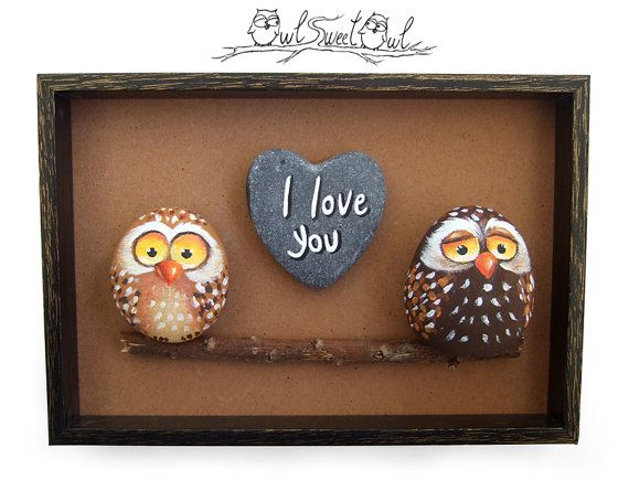 Unique Handmade 'Home Sweet Home' Owls Family Painting | 3-D Artwork Made with Painted Pebbles, Stick and a Marble Heart