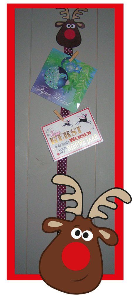 kerst knutselen rendier kaartenhanger - met de gratis download en werkbeschrijving op www.suuskinderfeestjes.nl  Make this reindeer card holder with the free download you can find on our website www.suuskinderfeestjes.nl