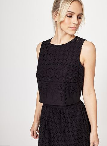 Womens black petites cutwork shell top from Miss Selfridge - £28 at ClothingByColour.com