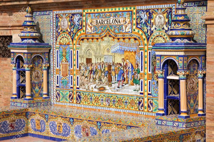This is the Barcelona tile at Plaza de España in seville, a city known for its tiles. There are 58 benches in the plaza like this one that depict the provinces of Spain. Each one is so beautifully detailed and I love that they exemplify different cities around Spain instead of solely Seville itself.