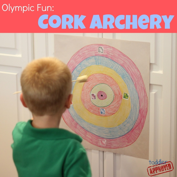 Toddler Approved!: Olympic Fun: Cork Archery. A fun way to create and practice letters. What else have you made from corks?