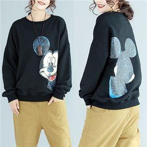 ★ミッキーもおおきくて★長袖Tシャツ ミッキーTシャツ トレーナー トップス Tシャツ スウェット レディース 長袖 ルームウェア ディズニーパーカー ユルイタイプ ミッキートレーナー韓国ファッション