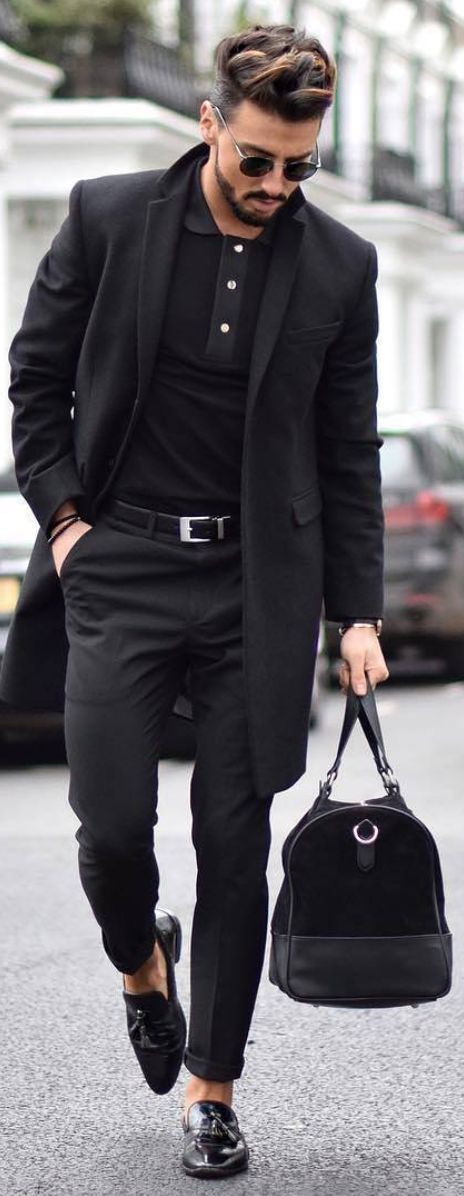 All Black Urban Chic. Stunning Coat and coordinated accessories down to shades and man beads. #secrettomensfashion #MensFashionTips