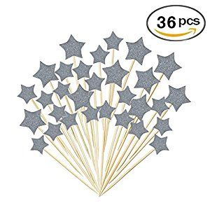 Amazon.com: 36 Pcs Twinkle Silver Star Cupcake Toppers DIY Glitter Mini Birthday Cake Snack Decorations Picks Suppliers Party Accessories for Wedding Baby Shower: Grocery & Gourmet Food