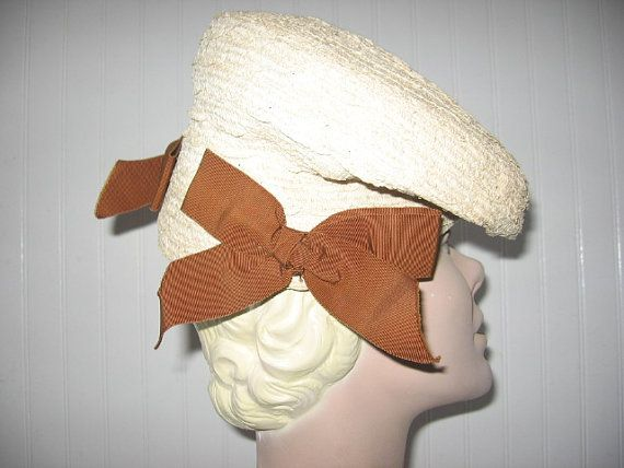 1940's Beige Straw Tilt Beret with Side Bows by BrionyLodgeVintage