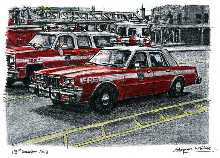 FDNY Chief Officers Car - drawings and paintings by Stephen Wiltshire MBE