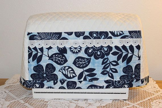Quilted Sewing Machine Cover Blue & White Sewing Machine