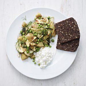 Vegetarbiksemad med kartofler, ærter og friske krydderurter  opskrift