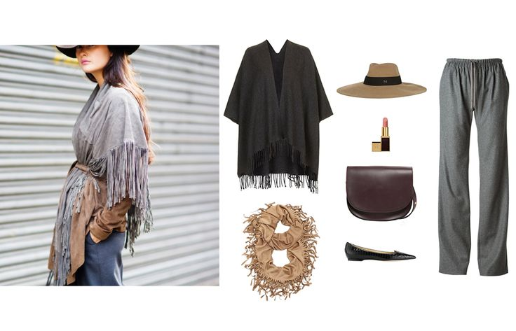 Topshop super-soft cape, $52topshop.comMaison Michel Fara wide-brim rabbit-felt hat, $440net-a-porter.comVanessa Bruno drawstring fastening loose-fit trousers, $407farfetch.comAttila black panelled Elaphe pointy-toe pump, $795jimmychoo.comChico's Farrah fringe scarf, price upon requestFor information: chicos.comMango flap cross-body bag, $50mango.comTom Ford Lip Color, $58selfridges.com - Photo: (clockwise from left) Courtesy of Peony Lim / Peony Lim; Courtesy of Topshop; Courtesy of ...