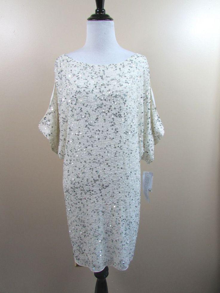 Aidan Mattox Ivory Split Sleeve Silk Sequin Beaded Dress Cocktail Size 6 NWT #AidanMattox #Cocktail