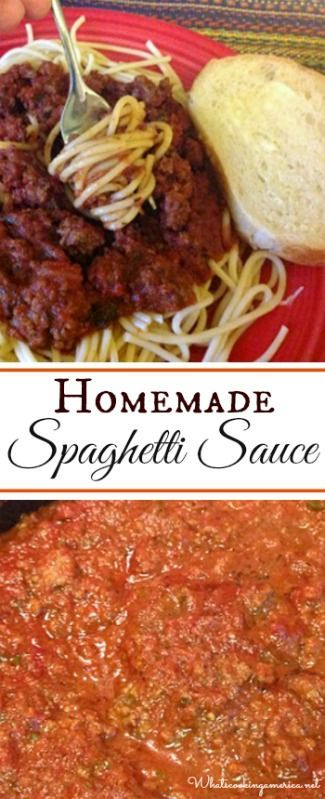 Homemade Spaghetti Sauce Recipe     whatscookingamerica.net     #spaghetti #sauce #marinara