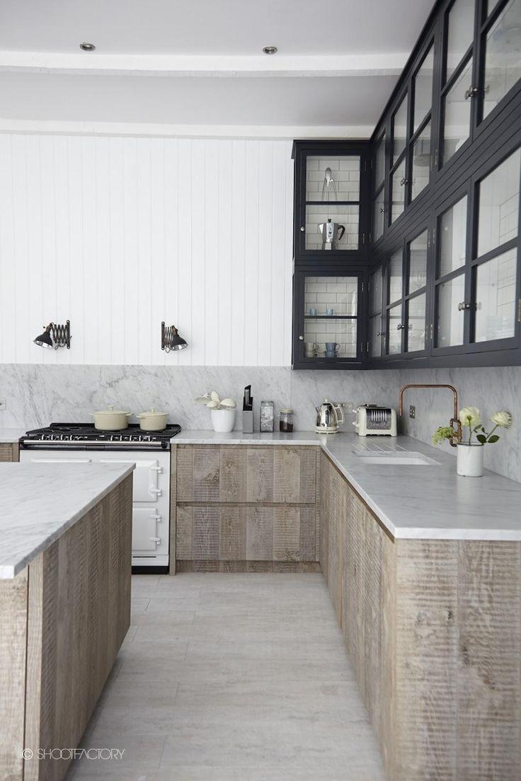 Ban sawn timber + black + white + marble + paneling