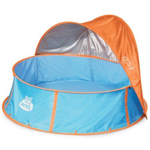 Pop-up pool: (currently unavailable online, but available in BJ's retail stores) For crawling children or kids who don't like to get messy, pop-up pools or inflatable pools are the answer. We love this one because it's easy to set up and has a nice sun shade; $70.