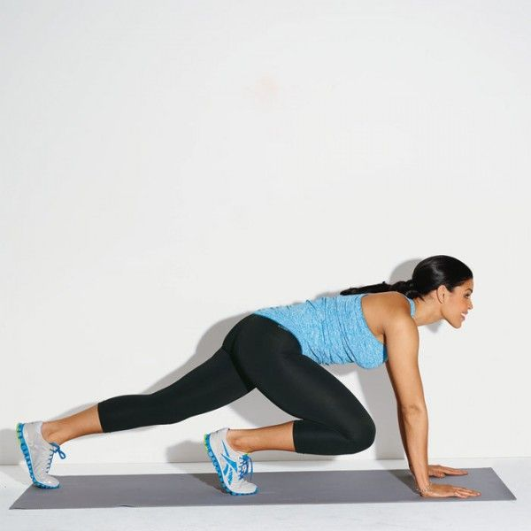 Jordin Sparks ~ Mountain Climber Works: Core, butt, and legs Get in plank position, feet hip-width apart. Pull your right knee toward your chest. Extend your right leg as you pull your left knee toward your chest to complete 1 rep. Do 20 reps.
