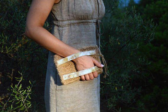 Clutch bag Eco print on cotton Eucalyptus and blackberry
