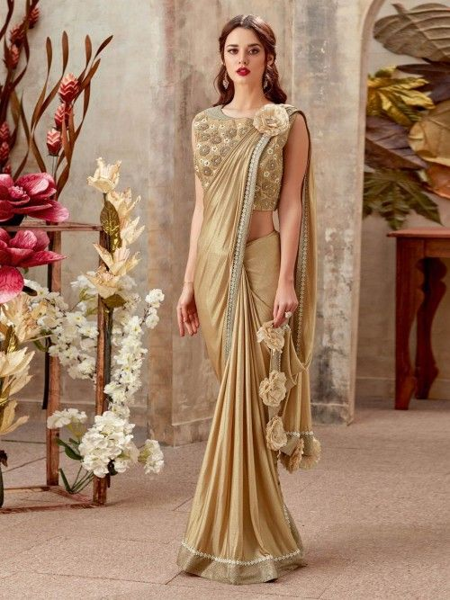 9e505a11b3 Endearing beige partywear one minute saree online for women which is  crafted from lycra fabric and comes with raw silk blouse.