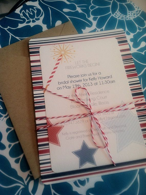 4th of July Wedding invitation bridal shower by Greencard on Etsy, $2.50