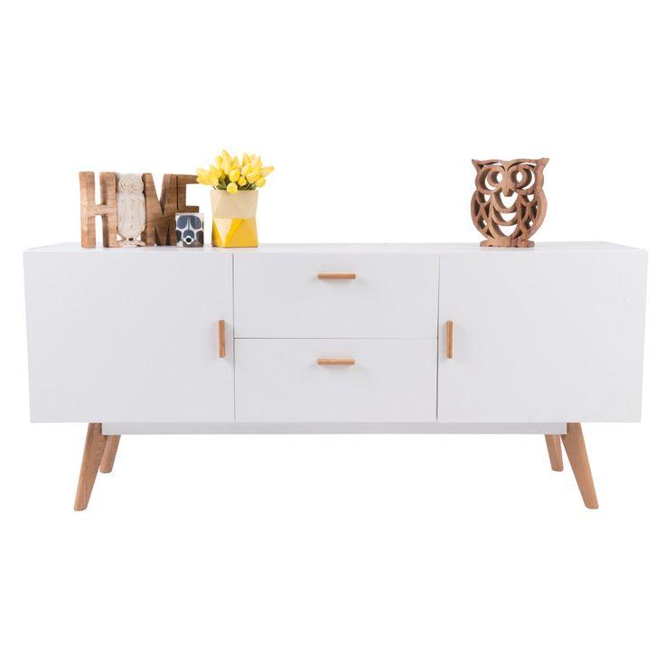 Vasby Sideboard - 2 Drawers 2 Doors - White - Scandinavian Furniture