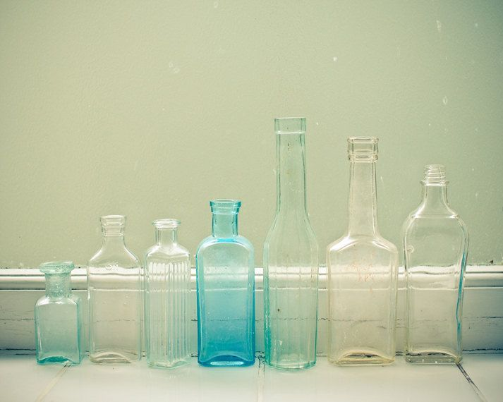 Window Display - Still life photography, vintage bottles, pastel decor, pale greens and blues, kitchen art