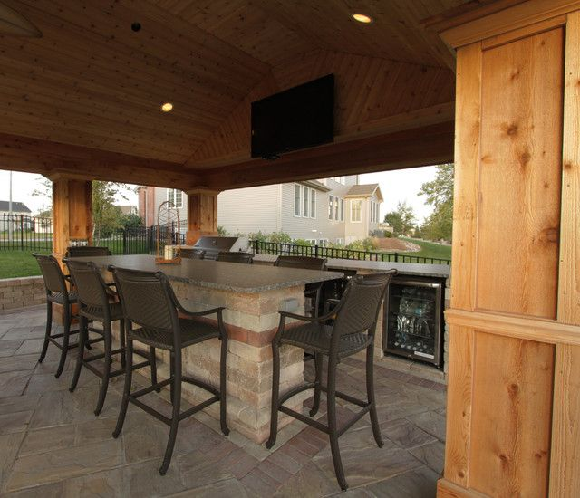 Classic Barstools Enhance This Traditional Kitchen: : Cool Outdoor Kitchen Space Completed With Grey Bar
