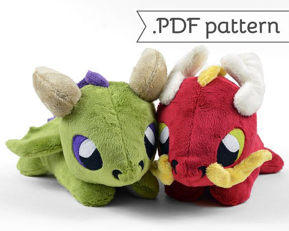 Patron de couture .pdf peluche Dragon oriental & occidental