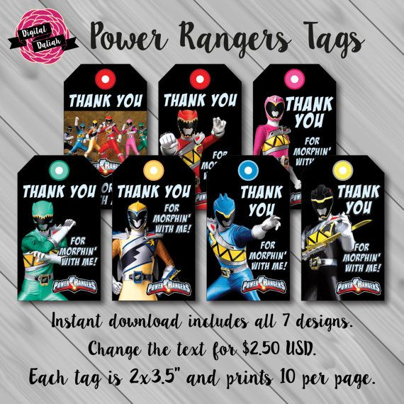 Power Rangers Dino Charge Thank You Favor/Favour by DigitalDaliah