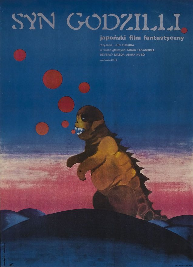 These Rarely-Seen Godzilla Posters Show You A New Face Of The Monster | Polish poster for Son of Godzilla, 1967, designed by Zuzanna Lipinska