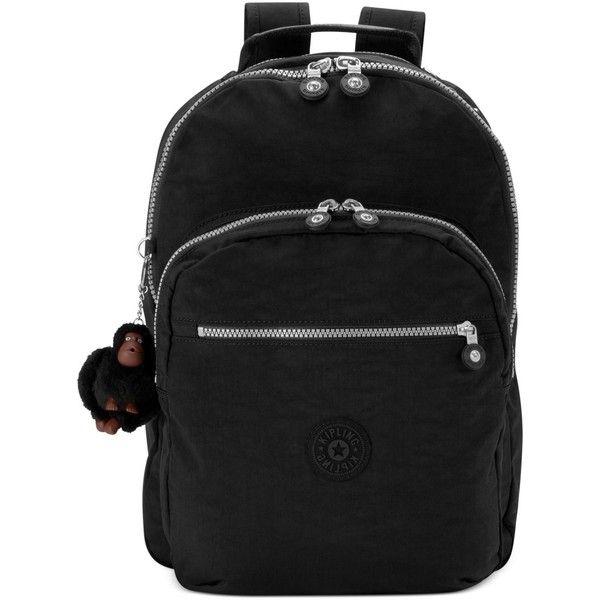 Kipling Seoul Backpack (145 CAD) ❤ liked on Polyvore featuring bags, backpacks, black, black rucksack, kipling backpack, black backpack, nylon backpack and laptop pocket backpack