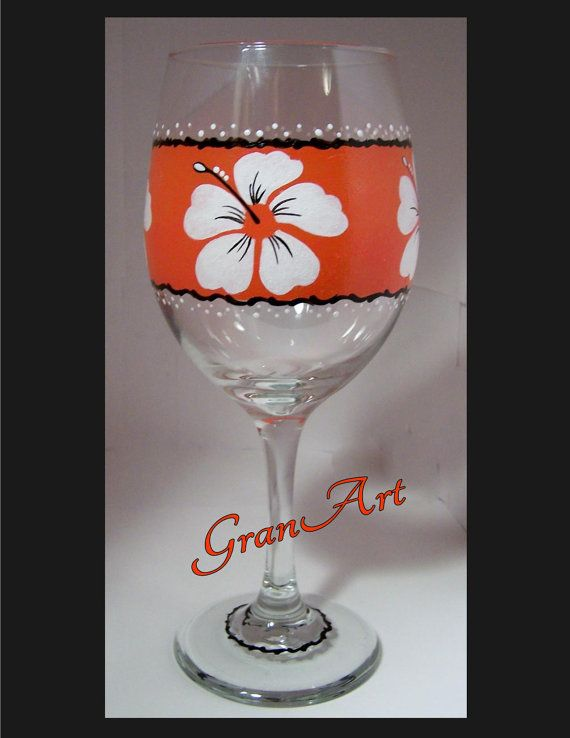 Paradise Cove. Tropical Wine Glass/Tropical/Wine Glass/Orange/Hand by GranArt