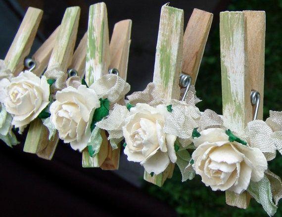Français Shabby Chic maison décorée épingles à linge Pinces à linge décoré ensemble de 7 broches avec les fleurs faites main de